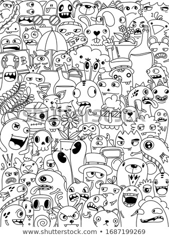 Crowd of cute monsters different colours on white background, seamless pattern Stock photo © Evgeny89