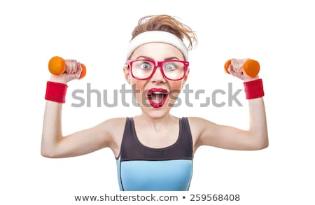 Funny woman with dumbbells isolated on white Stock photo © Elnur