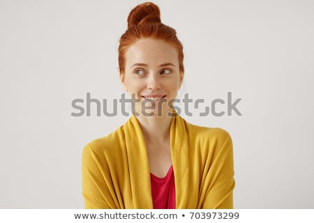 beauty portrait of a woman with skin care biting lip stock photo © deandrobot