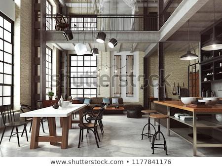 Szoba padlás stílus fehér tégla beton Stock fotó © bezikus