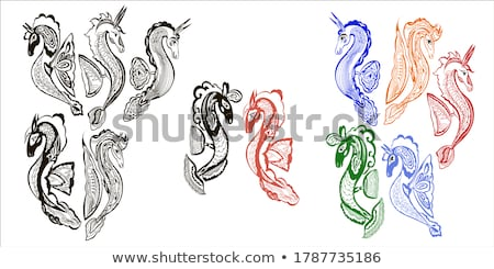 seahorses in six colors stock photo © bluering