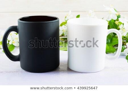 Stok fotoğraf: Siyah · kahve · kupa · elma · boş · ürün
