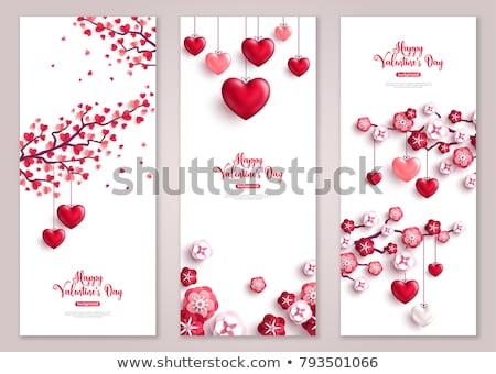 Валентин набор карт сердцах представляет роз Сток-фото © kali