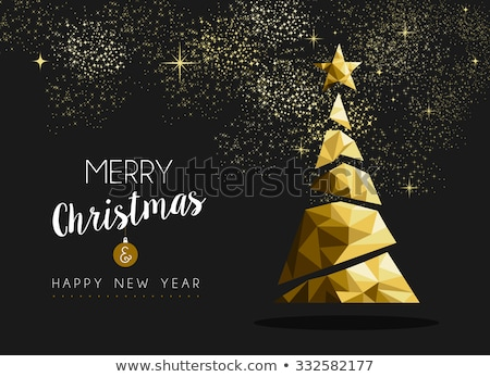 Gouden kerstboom ontwerp origami stijl boom Stockfoto © SArts