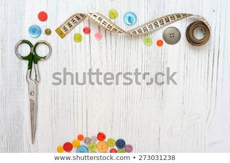 de · costura · ferramentas · tesoura · fio · botões · vintage - foto stock © yatsenko