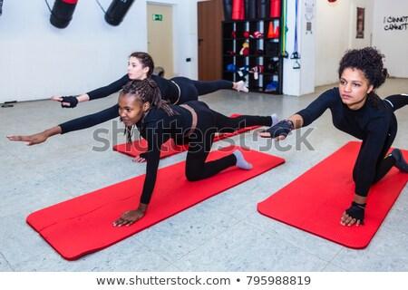 Vrouwelijke vechter tegenstander wedstrijd grond strijd Stockfoto © Kzenon
