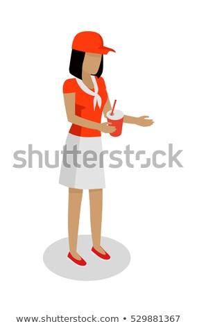 Mulher vermelho branco uniforme de vendas cola Foto stock © robuart