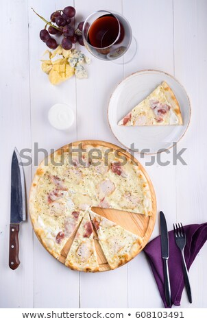 ピザ · 鶏 · ハム · クリーム · ソース · 木板 - ストックフォト © d_duda
