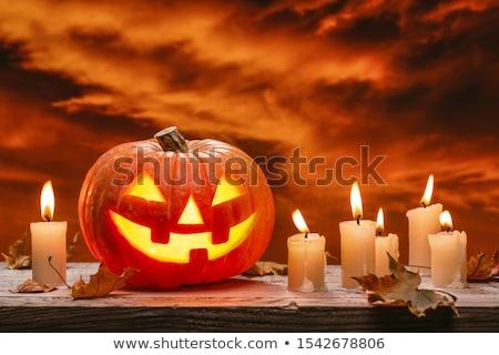 Kabak mumlar cadılar bayramı kabak halloween kırmızı Stok fotoğraf © kb-photodesign