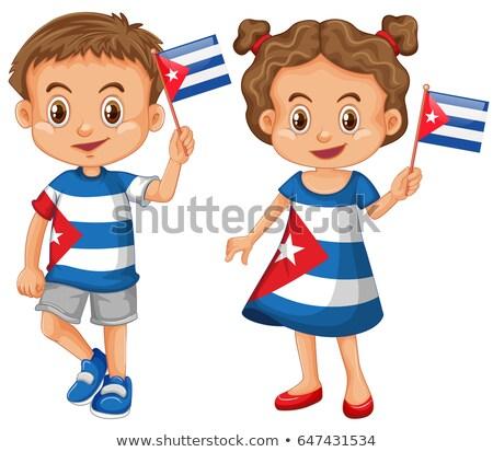 Ragazza bandiera bambini felice Foto d'archivio © bluering