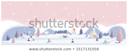 Vector flat style illustration of winter house with snowman.  Stock photo © curiosity