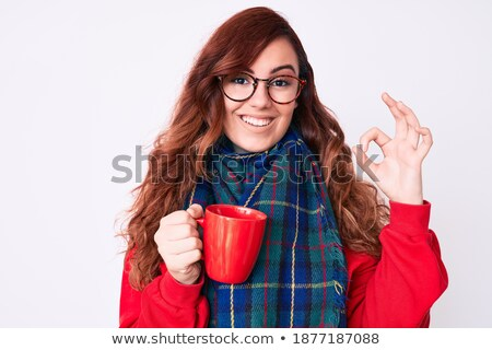 Coffee mug and hand Okay sign. cup of good hot drink Stock photo © MaryValery