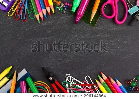 school supplies frame black board stock photo © lightsource