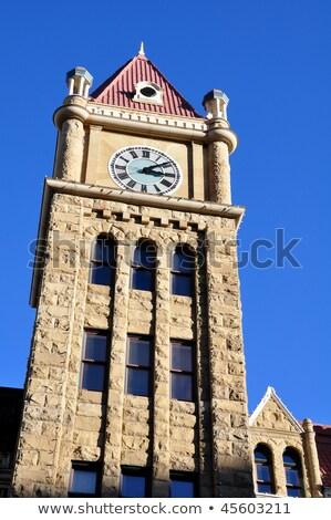 Klok toren calgary business hemel gebouw Stockfoto © benkrut