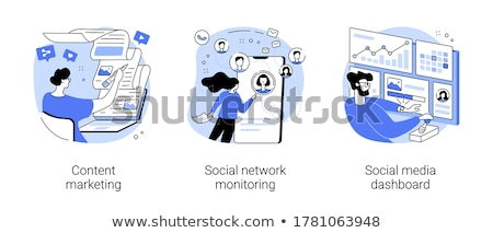 social · media · Blauw · lineair · illustratie · sociale · netwerken - stockfoto © ConceptCafe