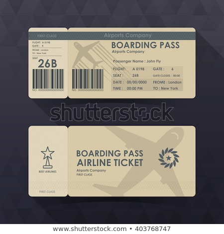 Passport and boarding pass, airline passenger ticket. Vector Stock photo © Andrei_