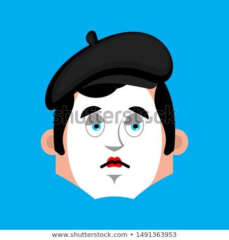 Mime sad emotion avatar. pantomime sorrowful emoji. mimic fsce.  Stock photo © popaukropa