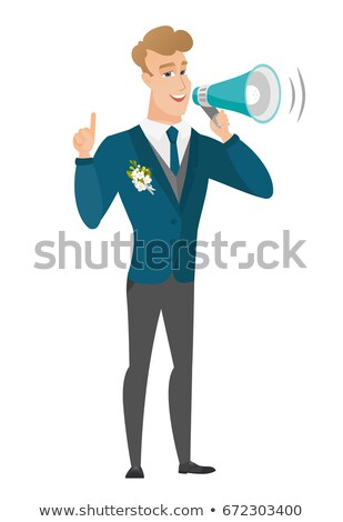 Young caucasian groom making announcement. Stock photo © RAStudio