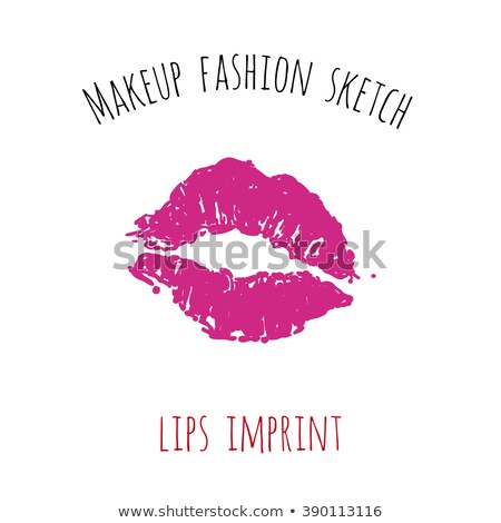 set of two vector lipstick kisses Stock photo © sommersby