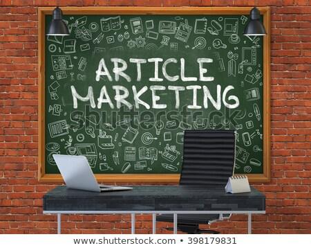 Content Marketing - Doodle Illustration on Red Chalkboard. Stock photo © tashatuvango