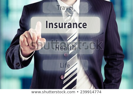 Mão tocante viajar seguro botão dedo Foto stock © tashatuvango