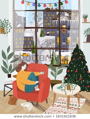 christmas · woonkamer · donkere · haard · fauteuil · lichten - stockfoto © sgursozlu