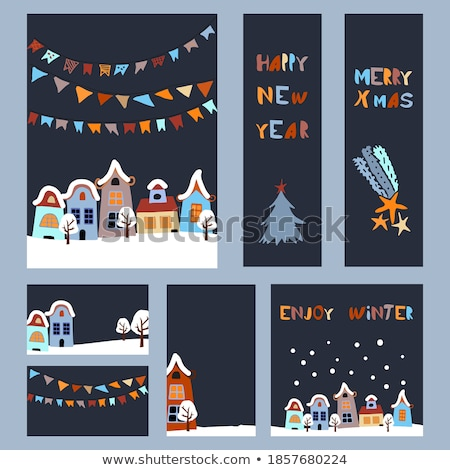 Wektora christmas dodaj do ulubionych zestaw zakładki Zdjęcia stock © kostins
