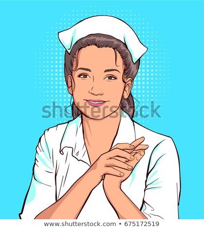 Nieśmiała pielęgniarki kobieta biały płaszcz pop art Zdjęcia stock © orensila