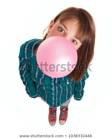 Fiatal hölgy fúj buborék íny izolált Stock fotó © deandrobot