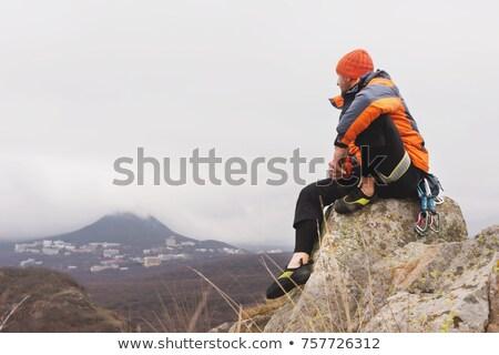 座って ピーク 山 石 色 成功 ストックフォト © IS2
