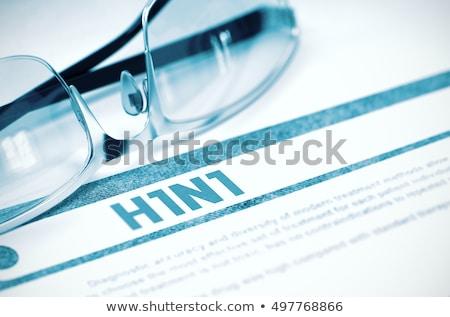 H1n1 diagnóstico médico foco pílulas seringa Foto stock © tashatuvango
