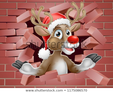 santa hat reindeer cartoon breaking brick wall stock photo © krisdog