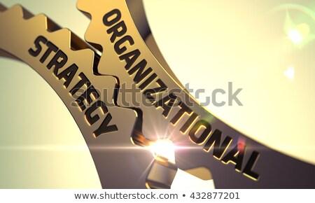 Organizational Strategy on Golden Metallic Gears. Stock photo © tashatuvango