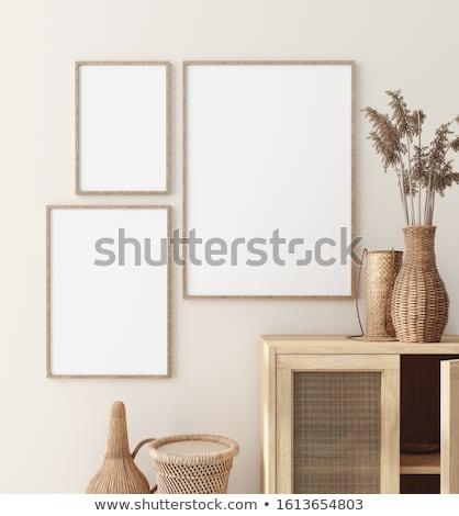 Stock fotó: Poszter · keret · vázlat · belső · 3D · renderelt · kép
