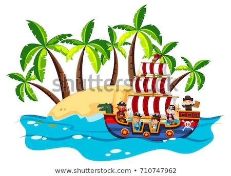 Océano escena ninos vikingo buque ilustración Foto stock © bluering