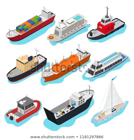 Kereskedelmi tenger hajók izometrikus 3D elemek Stock fotó © studioworkstock