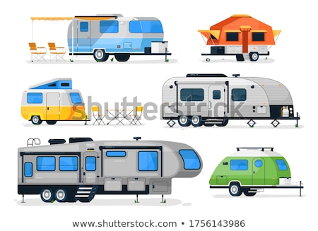 Camping trailer isolated on white set stock photo © studioworkstock