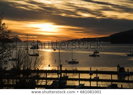 Silhouetted boats on sea, Salt Spring Island, British Columbia, Canada Stock photo © IS2