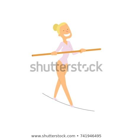 empresário · caminhada · corda · esticada · desenho · animado · saldo · homem - foto stock © bluering