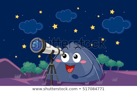 талисман палатки телескопом звезды иллюстрация кемпинга Сток-фото © lenm