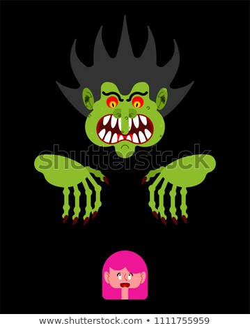 Scary man scaring little girl. Nightmare monster with long claws Stock photo © popaukropa