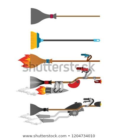 Bruxa vassoura conjunto tecnologia evolução cabo de vassoura Foto stock © popaukropa