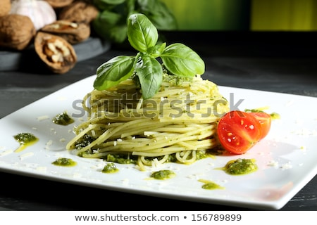 Stock photo: Linguine with green pesto