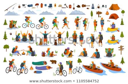 mujer · equitación · kayak · África · río · cráneo - foto stock © deandrobot