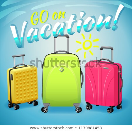 Concept of summer vacation, bright multicolored suitcases with inscription. Stock photo © MarySan
