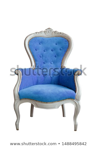 Modern blue soft armchair with upholstery - interior design element isolated on white background. Stock photo © MarySan