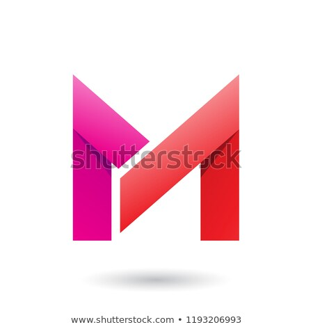 Magenta and Red Folded Paper Letter M Vector Illustration Stock photo © cidepix