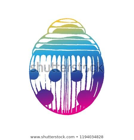 Stockfoto: Regenboog · gekleurd · inkt · schets · lieveheersbeestje · illustratie