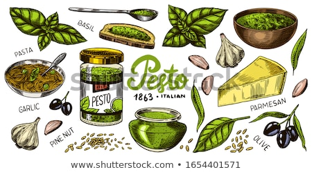 Stockfoto: Ingrediënten · pesto · saus · basilicum · pine · noten