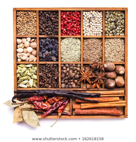 Száraz fűszer fából készült doboz levelek chilipaprika Stock fotó © karandaev